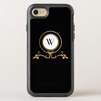 Elegant Black and Gold Monogram Design | OtterBox Symmetry iPhone 8/7 Case