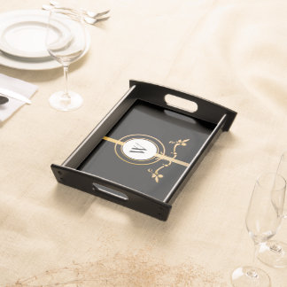 Elegant Black and Gold Monogram Design | Serving Tray