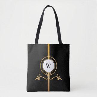 Elegant Black and Gold Monogram Design | Tote Bag