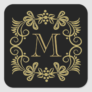 Elegant Black And Gold Monogram Stickers