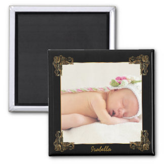 Elegant Black and Gold Ornate Photo Frame Square Magnet