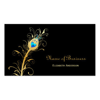 Elegant Black and Gold Peacock Feather Business Card Templates