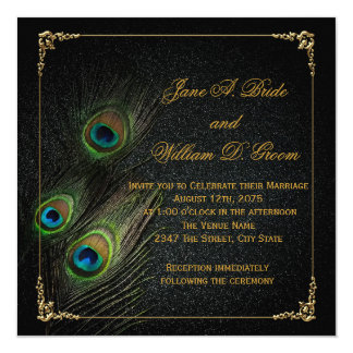 "Elegant Black and Gold Peacock Wedding 5.25"" Square Invitation Card"