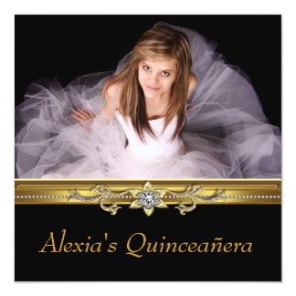 """Elegant Black and Gold Photo Quinceanera 5.25"""" Square Invitation Card"""