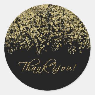 Elegant Black and Gold Polka-Dots Thank You! Round Sticker
