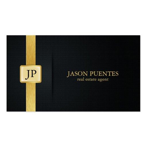 Elegant Black and Gold real estate agent Business Cards