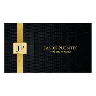 Elegant Black and Gold real estate agent Pack Of Standard Business Cards