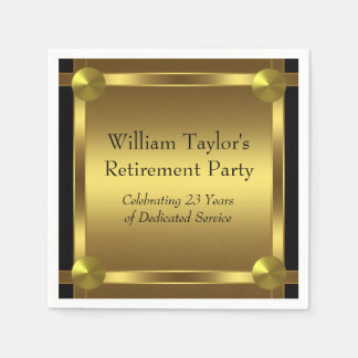 Elegant Black and Gold Retirement Paper Napkins
