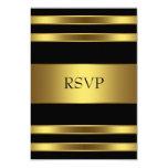 "Elegant Black and Gold RSVP 3.5"" X 5"" Invitation Card"