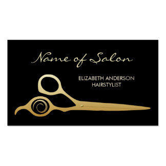 Elegant Black and Gold Salon Hairstylist Scissors Pack Of Standard Business Cards