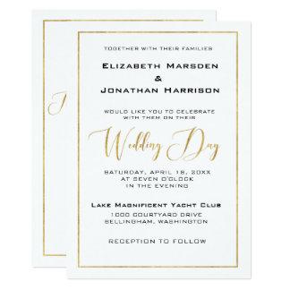 Elegant Black and Gold Script and Border Wedding Card