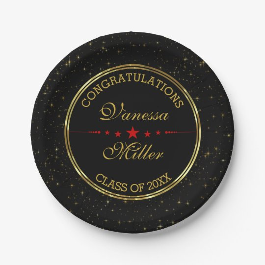 Elegant Black And Gold Shiny Stars- Graduations 7 Inch Paper Plate