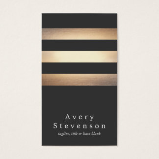 Elegant Black and Gold Striped Cool Modern Business Card