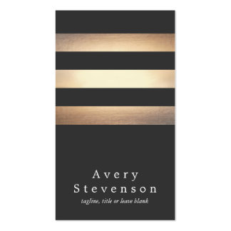 Elegant Black and Gold Striped Cool Modern Pack Of Standard Business Cards