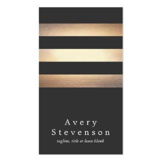 Elegant Black and Gold Striped Cool Modern Pack Of Standard Business Cards