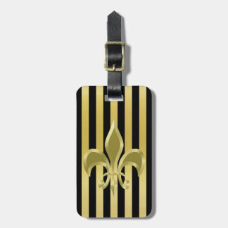 Elegant Black and Gold Stripes with Fleur-de-Lis Luggage Tag