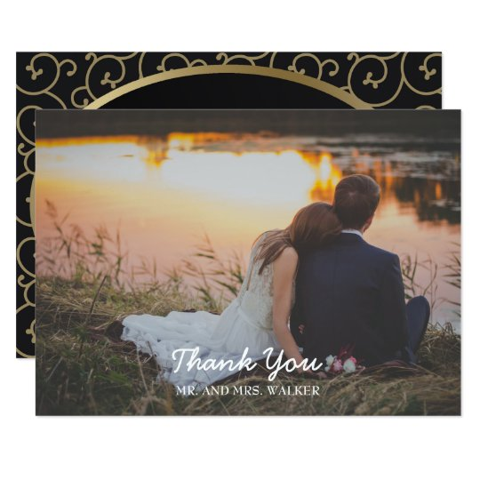 Elegant Black and Gold Swirl Wedding Thank You Card
