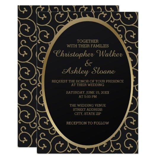 Elegant Black and Gold Swirls Wedding Invitation