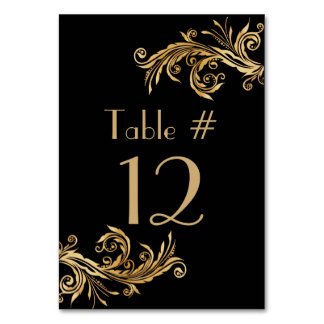 Elegant Black and Gold Tone Wedding Table Number