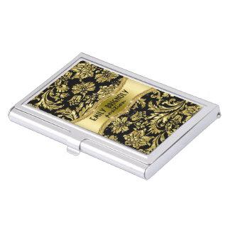 Elegant Black And Gold Vintage Damasks 4 Business Card Holder