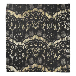 Elegant black and gold vintage french floral lace bandanna