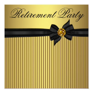 Elegant Black and Gold  Womans Retirement Party 5.25x5.25 Square Paper Invitation Card