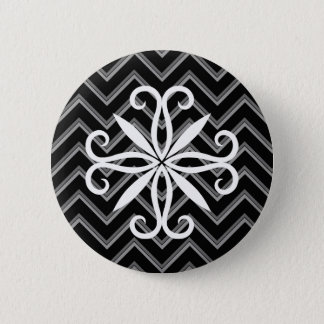 Elegant black and gray chevron pattern 2 inch round button