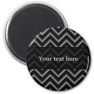 Elegant black and gray chevron pattern 2 inch round magnet