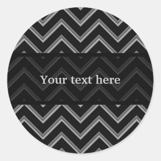 Elegant black and gray chevron pattern classic round sticker