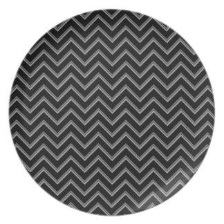 Elegant black and gray chevron pattern plates