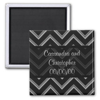 Elegant black and gray chevron save the date square magnet