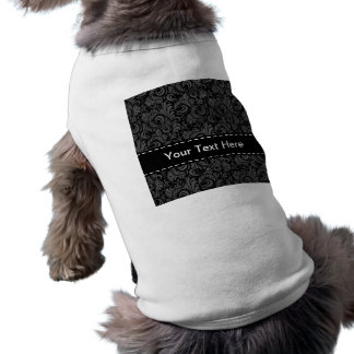 Elegant Black and Gray Floral Pattern Dog Clothes