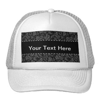 Elegant Black and Gray Floral Pattern Trucker Hat