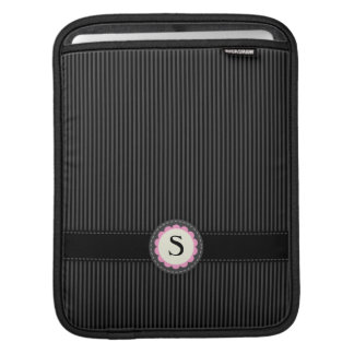 Elegant black and gray stripes monogram emblem iPad sleeve