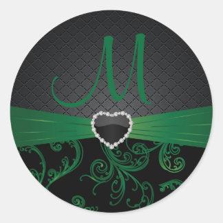Elegant Black and Green Floral Pattern Round Sticker