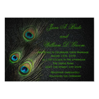 "Elegant Black and Green Peacock Wedding 5"" X 7"" Invitation Card"