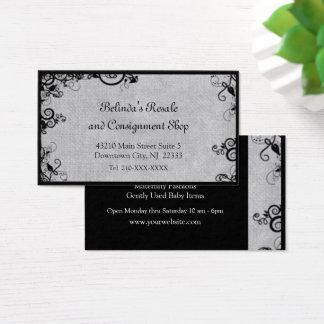 Elegant Black and Grey Deco Flourish Business Card