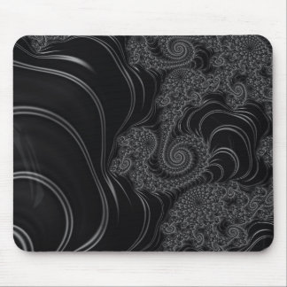 Elegant Black and Grey Fractal Mouse Pad