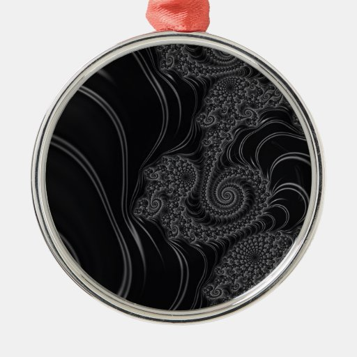 Elegant Black and Grey Fractal Christmas Tree Ornament