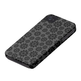 Elegant black and grey whimsical flower pattern Case-Mate iPhone 4 cases