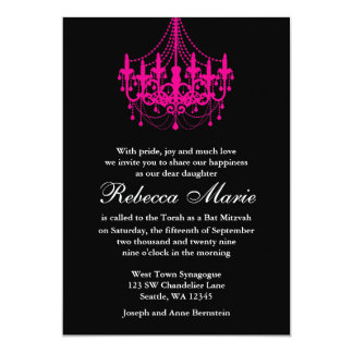 "Elegant Black and Hot Pink Chandelier Bat Mitzvah 5"" X 7"" Invitation Card"