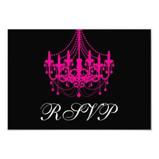"""Elegant Black and Hot Pink Chandelier RSVP Card 3.5"""" X 5"""" Invitation Card"""