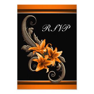 Elegant Black and Orange Asiatic Lily Wedding Card