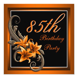 "Elegant Black and Orange Tiger Lily Birthday Party 5.25"" Square Invitation Card"