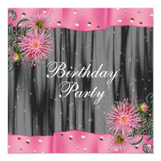 Elegant Black And Pink Dahlia Birthday Party Card