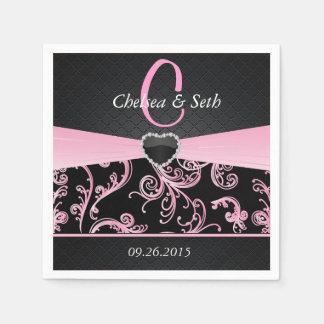 Elegant Black and Pink Floral Pattern Paper Napkin