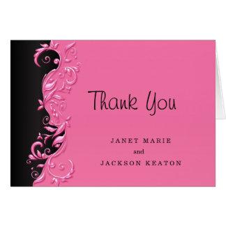 Elegant Black and Pink Florid Wedding Design Card