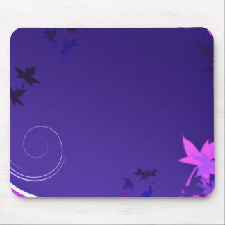 Elegant black and pink leaves mouse pad