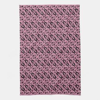 Elegant Black and Pink Pattern Towels