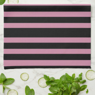 Elegant Black and Pink Stripe Hand Towels